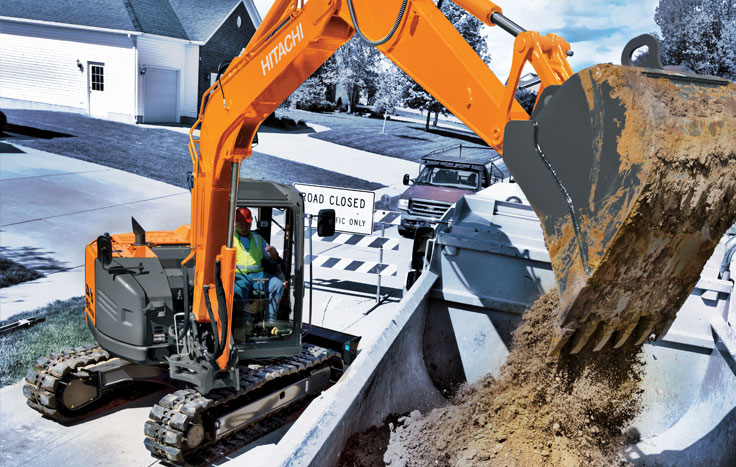 Hitachi ZX85USB-5 Reduced-Tail-Swing Excavators - Available at Dobbs Equipment in Florida