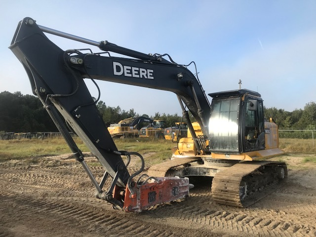 "97041 JOHN DEERE 180G Orlando 1FF180GXLFE020510 Cab with A/C, Control Pattern Selectio, 8'10"" arm,700mm triple grouser, Aux Lines, Reversible Fan, Less bucket, GH9 Hammer 891 2015 Excavator"